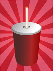 Soft drinks soda, in fastfood container illustration