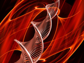 3D render of DNA on abstract background