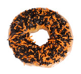 Halloween Donut with black and orange granules poster