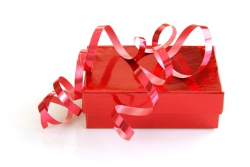 Red gift box with matching curled ribbon
