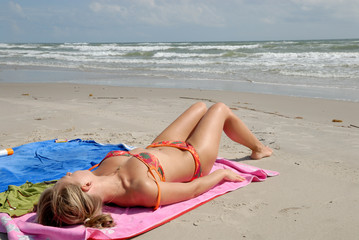 Woman on the beach Padre Island, southern Texas USA