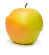 Apple two-piece fruit. Isolation, shallow DOF.
