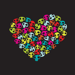 small colorful funny skulls on black background.