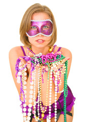 colorful mardi gras beautiful queen smiling isolated