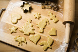 dough cut for christmas cookies poster