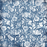 Fototapety decorative blue-white patterns in retro style
