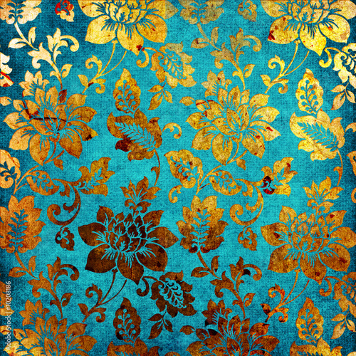 Spoed canvasdoek 2cm dik Retro golden -blue vintage background