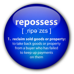 """repossess"" button with definition"