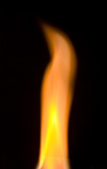 the flame over black background