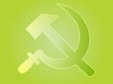 Soviet USSR hammer and sickle political symbol poster