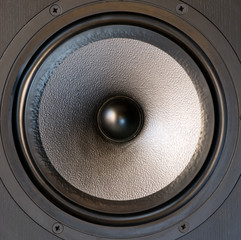 Black music loudspeaker woofer.