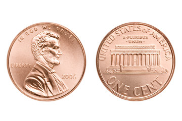 penny macro both sides, one American cent coin isolated