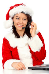 Christmas customer services girl smiling - isolated