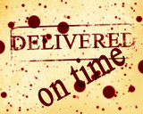 red stamp with delivered on time on it poster