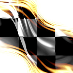 old racing flag with some folds in it