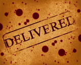 red stamp with delivered written on it poster
