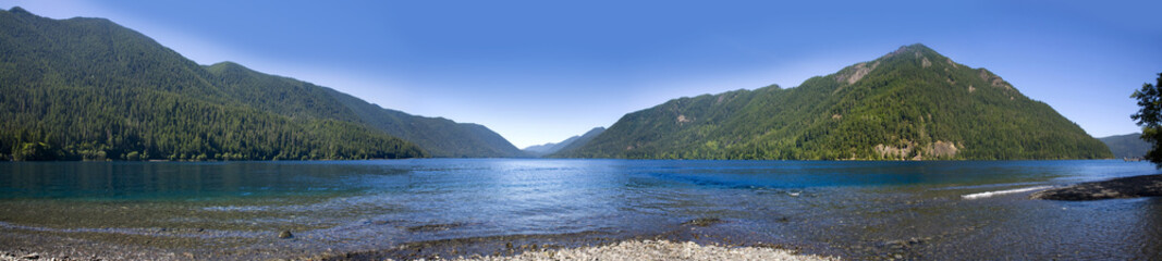 Beautiful Lake Crescent in the Olympic National Park. Panoramic