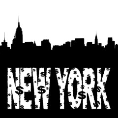 Midtown manhattan skyline with grunge New York text