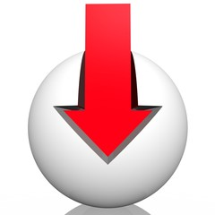 Abstract symbol from a white sphere with a red arrow