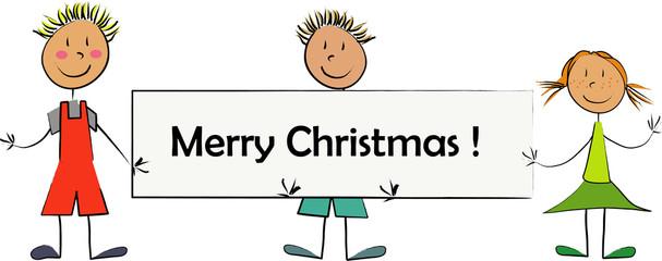 enfant panneau merry christmas