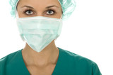 Doctor wearing a surgical mask and cap poster