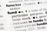 A close up of the word fund from a dictionary poster