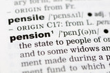 A close up of the word pension from a dictionary poster