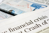 Newspaper headlines - financial crisis on 2008 poster