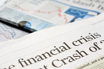 Newspaper headlines - financial crisis on 2008