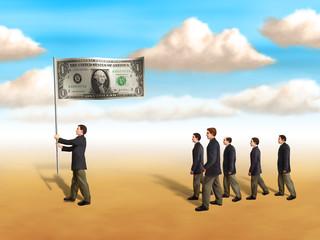 Businessmen following a dollar flag. Digital illustration