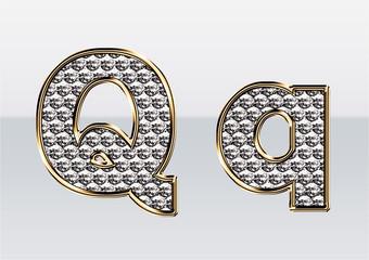 ラインストーンのアルファベット Q