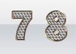 ラインストーンの数字 7 8