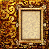 vintage cooper background with empty frame poster
