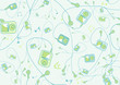 roleta: Retro Seamless Pattern made of cool hand-drawn mp3 players