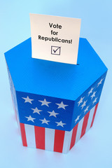 Ballot box with Vote for Republicans voting card