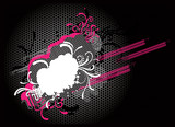Abstract decorative background- black. white, magenta - vector poster