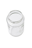 Top view of open glass container on white background poster