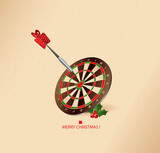 aiming in the right point -  christmas greeting card- vector poster