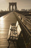 Timeless view of park bench and Brooklyn Bridge-