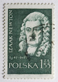 Portrait of Sir Isaac Newton on canceled, vintage post stamp poster