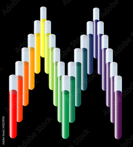 Rainbow Test tubes in M shape, medical logo