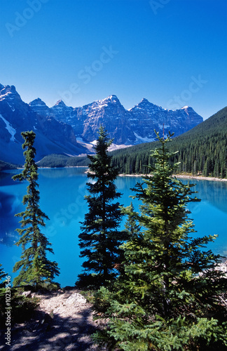 Moraine lake a glacier lake in Canadians Rockies