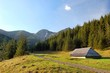 Path in polish Tatra mountains with small shelter