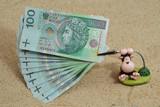 Toy ape holding polish money poster