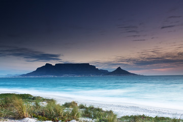 Table Mountain from Milnerton beach with grass in the foreground