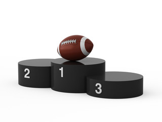 Isolated black podium and american fotball ball.