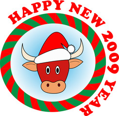 Vector sticker: Little red new year bull in red Santa hat