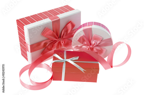 Gift Boxes and Ribbon on White Background