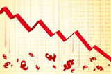 Financial graph showing downfall - recession poster