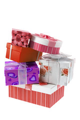Stack of Gift Boxes on White Background
